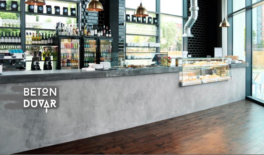 cafe brüt beton görünüm tezgah