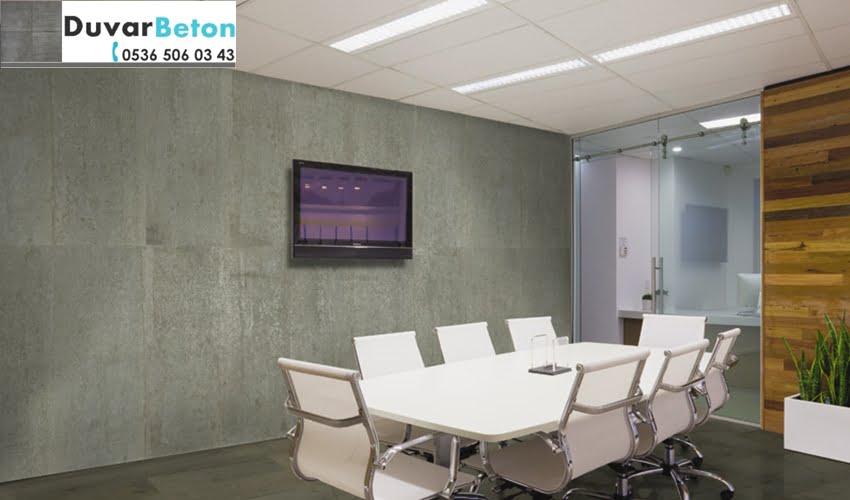 ofisler için brüt beton görünümü boya ve sıva uygulaması