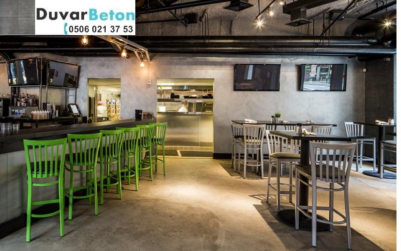 Kafe restaurant brüt beton görünümlü duvar sıva uygulaması