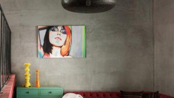 Kuaför salonu beton duvar dekoru