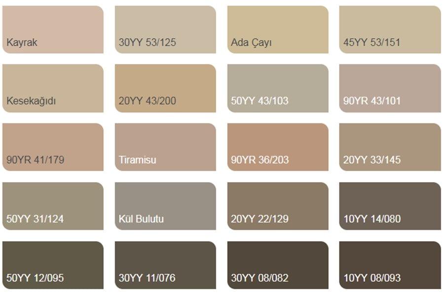 Marshall Iç Cephe Boya Renkleri Renk Kartelası